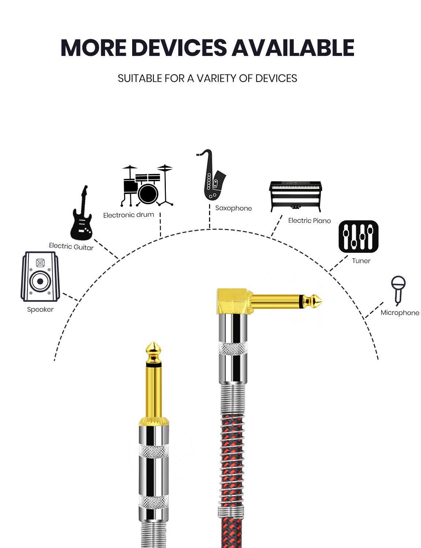 MeloAudio Cable para guitarra de 6,35 mm de ángulo recto a recto ...