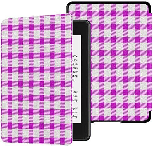 Gloednieuwe Kindle Paperwhite Waterveilige stoffen hoes (10e generatie, uitgave 2018), naadloze retro wit roze vierkante tafelkleed Vector tablethoes