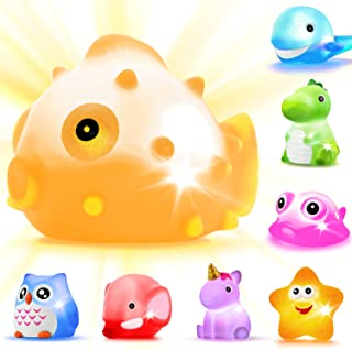 Bath?Toys 8 Pcs?Light Up?Floating?Rubber?animal?Toys?set Flashing Color?Changing?Light in Water?CHIMAGER?Baby?Infants?Kid...