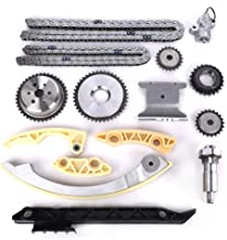 Engine Timing Chain Kit w/Chain Guide Tensioner Sprocket for Buick Chevy GMC Pontiac Saab Saturn 2.0L 2.2L 2.4L L4 Replace # 12680750 9-4201S 9-4201SX