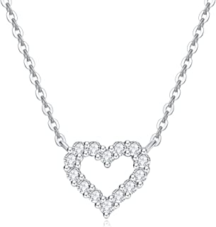 Solid 18K Real White Gold Round 0.15cttw Diamond Small Tiny Love Open Heart Dainty Pendant Necklace Delicate Jewelry for Women Girls, 16+2