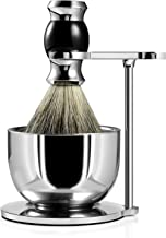 GRUTTI Shaving Set, Straight Shaving Stand with Soap Bowl and Brush Deluxe Chrome Razor and Brush Stand with Lather Bowl Compatible with Manual Razor -Black