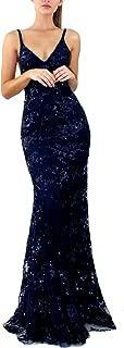 Women's Sequins V-Neck Backless Empire Waist Party Wedding Maxi Long Dresses