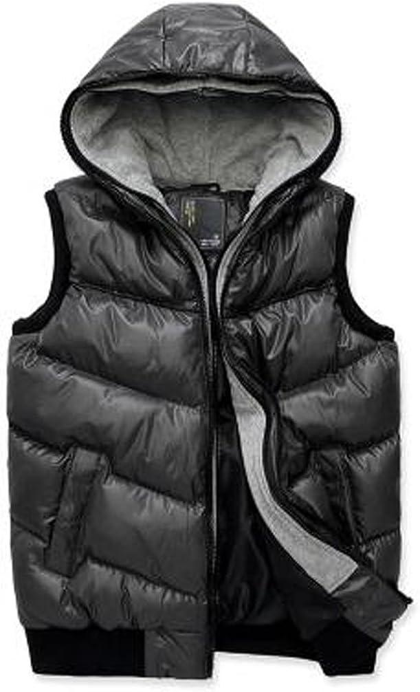 Only Faith Men'warm zipper vest jacket sleeveless cotton hooded vest