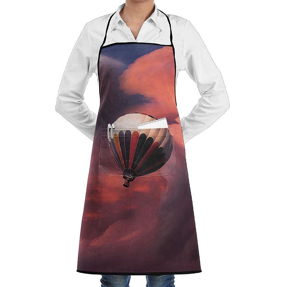 Kitchen Bib Apron Neck Waist Tie Center Kangaroo Pocket Balloon Fly Sky Waterproof
