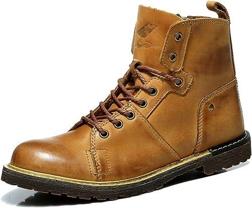 MERRYHE Hauszapatos De Deporte con Cordones De Los hombres botas De Cuero Genuino Martin botas Al Aire Libre del Desierto Botines De Moda zapatos De Trabajo