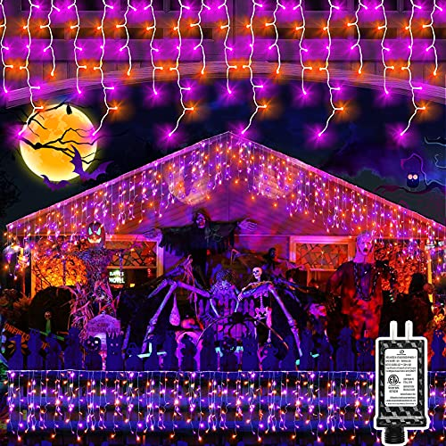 Halloween Lights Outdoor 640LED 65ft 8 Modes Super Long IcicleLights with 120 Drops Plug in Waterproof Memory Function Curtain Fairy String Light for Home Party Roof Eaves Festival (Orange and Purple)