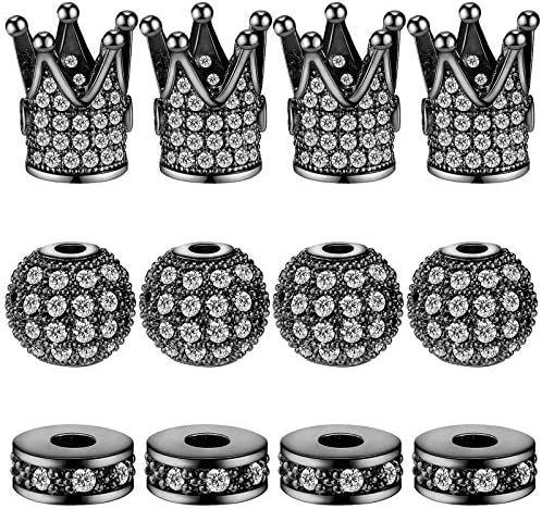 20 Pieces Crown Charms Rhinestone Beads King Crown Charms Beads 8 mm 0 32 Inch Round Ball Rhinestone product image