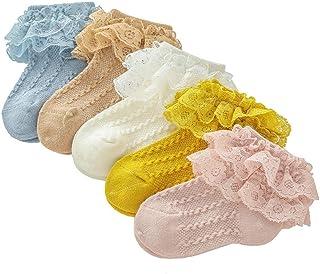 Bryights, Calcetines Bebe Antideslizante Calcetines De Bebé Recién Nacido Lazo De Encaje Calcetines De Niña Princesa Suave Niño
