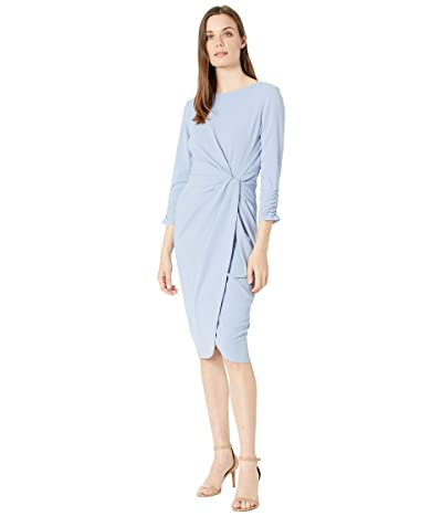 Tahari by ASL Stretch Scuba Crepe Side Knot Dress with Cinched Sleeve Detail