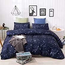 HYPREST Duvet Cover Queen Blue Microfiber Constellation Pattern Design Breathable Lightweight Bedding Sets with Zipper Clo...