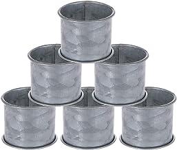 SKAVIJ Galvanized Design Rustic Style Metal Napkin Ring Set of 6 for Dining Table Decoration Silver