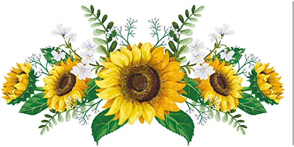 SMANTA 23 6 X 8 47 Flower Sunflower Personality Wall Sticker Decoration For DIY Art Living Room Cabinet Door Kitchen Kids Girls Bedroom Decor