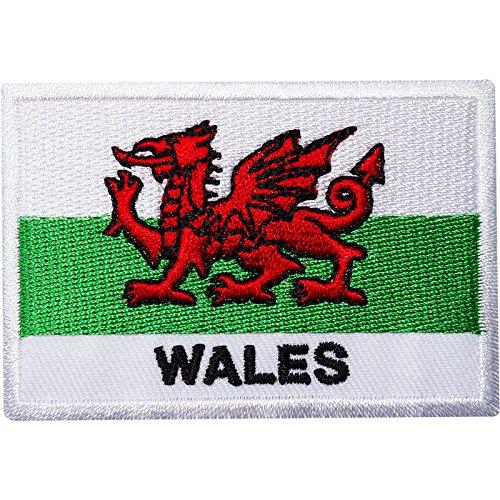 Aufnäher mit Wales-Flagge, bestickt, zum Aufnähen oder Aufbügeln, Motiv: walisischer Drache, Rugby, für Hemden, Taschen
