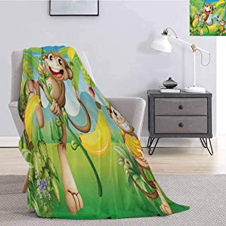 Nursery Rugged or Durable Camping Blanket Two Monkeys Near The Banana Plant Tropical Nature Landscape Vine Funny Animals Apes Warm and Washable W54 x L72 Inch Multicolor