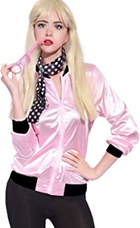 50's Costume Party Jacket Adult Standard Pink with Scarf Halloween Costume Set