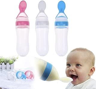 Infant Baby Silica Gel Feeding Bottle With Spoon Newborn Toddler Food Supplement Rice Cereal Bottles Milk Feeder 90ml
