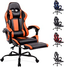 ALFORDSON Racing Gaming Chair Executive Sport Office Chair with Footrest Headrest and Lumbar Cushions(Axer Orange)