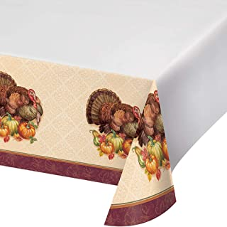 Creative Converting 331997case Thanksgiving Turkey Plastic Tablecloths, One Size, Multicolor