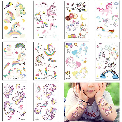 Temporäre Tattoo Set, 10 Blätter Kindertattoos Aufkleber für Jungen Mädchen Kinder Spielen Mitgebsel Kindergeburtstag Party (Einhorn)