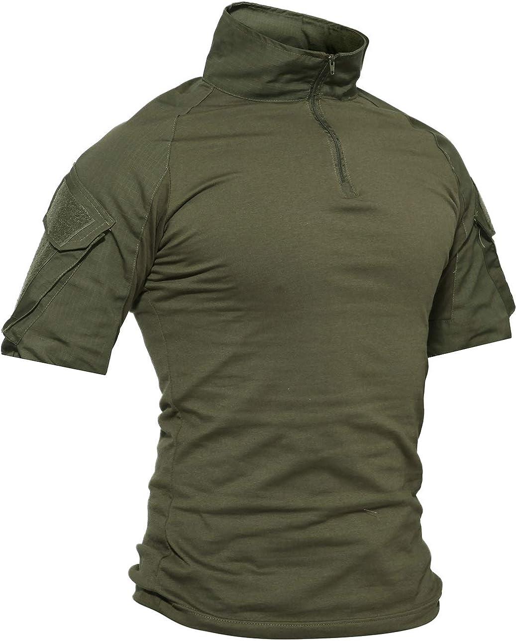 TACVASEN Camicia Militare da Uomo Cotone Airsoft Outdoor Shirt