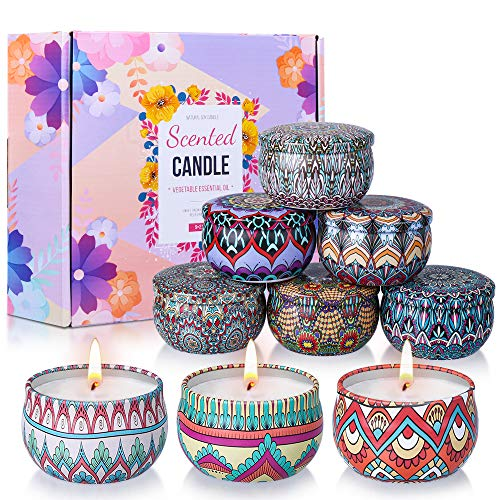 OFUN Duftkerze Geschenk Set, 9 Stück Vanille, Lavendel Aroma Kerzen Reisekerzen für Frauen, Sojakerzen 100-120 Brennstunden für Yoga, Aromatherapie, Stressabbau, Valentinstag, Geburtstag, Weihnachten