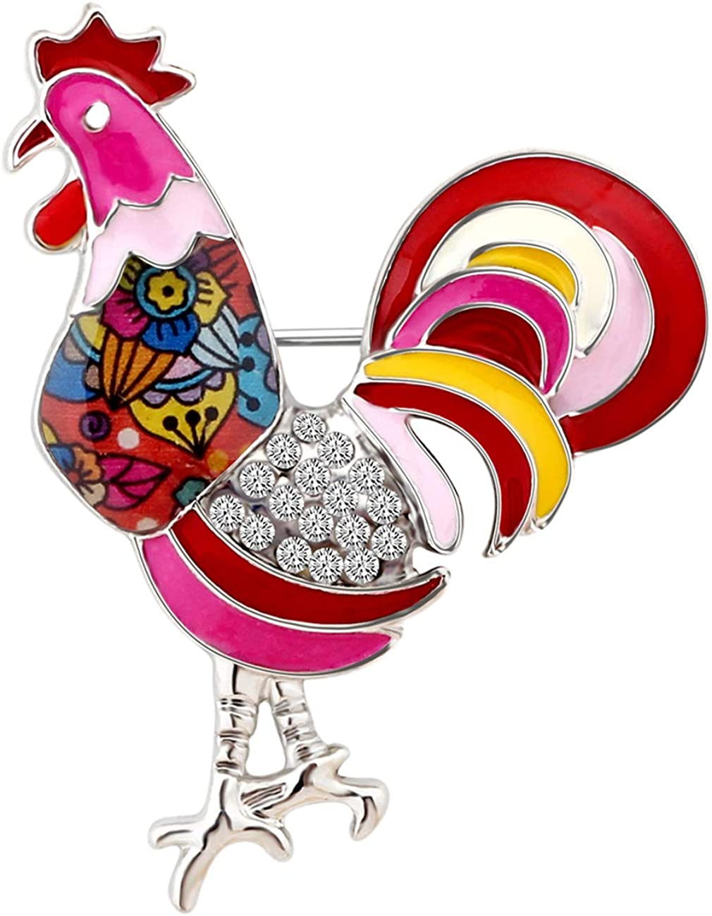 5% OFF DUOWEI Metal Enamel Rhinestone Floral Large Hen Rooster Trust Chicken