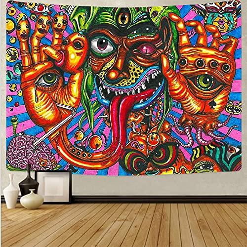 PPOU Tapiz psicodélico posmoderno para Colgar en la Pared Hippie Que Lanza Alfombra de Playa Arte Impreso Revestimiento de Paredes Sala de Estar decoración del hogar A17 150x200cm