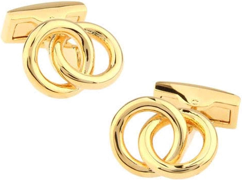 Daesar Cufflinks Shirt Studs Men Cufflinks for Wedding Dual Ring Gold Cufflinks Personalized
