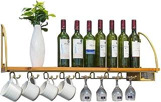 Gloden Wine Racks Wall Mounted Shelf Kitchen Wood Wine Bottle Storage Holder Wall Wine Glass Goblet Shelves
