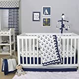 Anchor Nautical 3 Piece Baby Crib Bedding Set in Navy Blue by The Peanut Shell