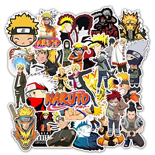 Naruto Stickers 50pcs Anime Themed Naruto Haruno Sakura Uchiha Sasuke Waterproof Vinyl Sticker for Laptop Water Bottle Cup Car Skateboard Wall Helmet Guitar,Best Gift for Kids Children