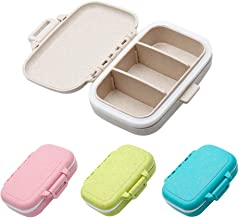 Jiozermi 4pcs Small Pill Box Supplement Case for Pocket or Purse, 3-Removable Compartments Travel Medication Carry Case Or...