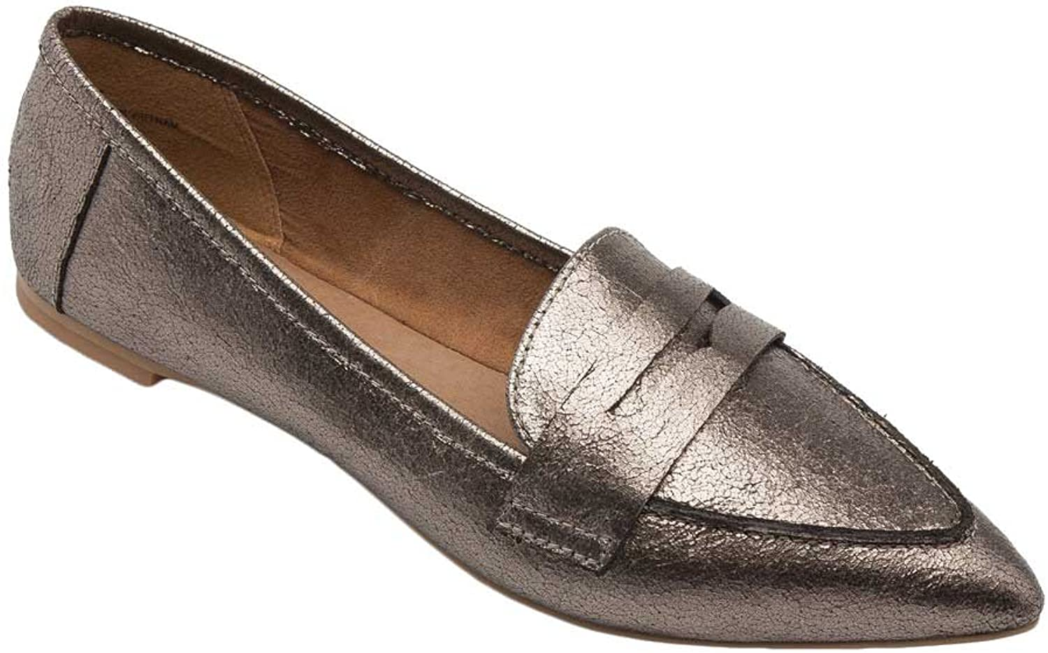 Pic Pay Margo Women's Flats - Pointy Toe Penny Loafer Pewter Metallic PU 8.5M