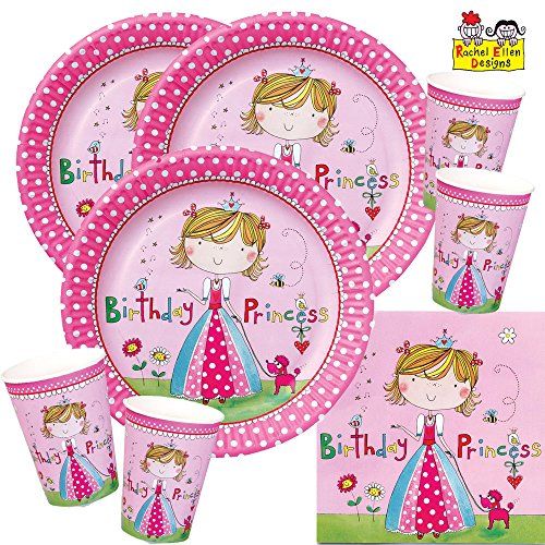 52-teiliges Party-Set Rachel Ellen Kleine Prinzessin - Teller Becher Servietten für 16 Kinder