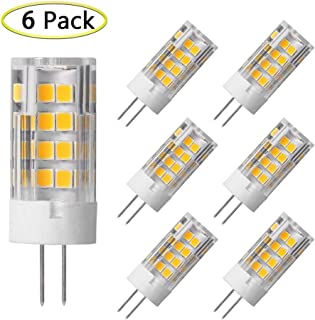 G4 LED Bulb 5W Equivalent to 40W G4 Halogen Bulb, T3 JC Type Bi-Pin G4 Base, AC/DC 12 Volt Warm White 3000K, Not-Dimmable (6 Pack)