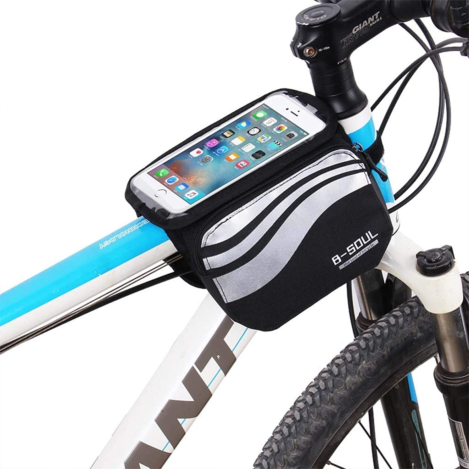 Cloud Bike Frame Bag, Bicycle Phone Mount Cycling Front Top Tube Pouch Frame Phone Holder Bag Pannier (Color : White, Size : 5.7 inches)