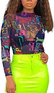 Mogogo Womens Stretch Fit See-Through Tees Top Colorful Base T-Shirts