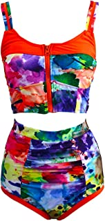 InGamour Bright Color Block High Waisted Swimsuit Zipped Summer Beachwear