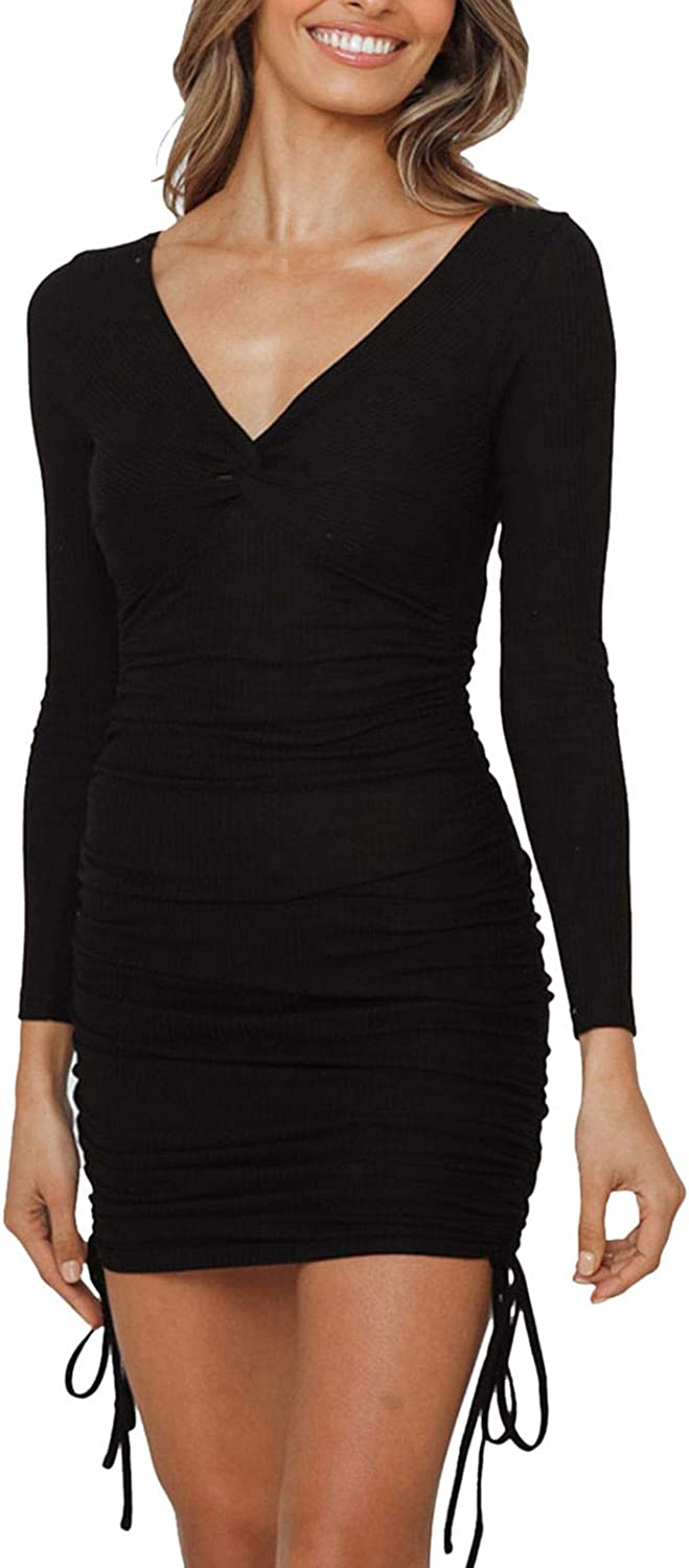 TEWWEY Women's Sexy Bodycon Ruched Deep V Neck Long Sleeve Drawstring Mini Club Party Dresses