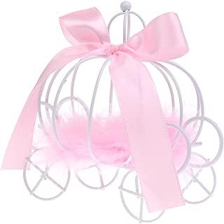Gazechimp Cajas de Caramelo de Dulce de Metal Diseño con Carro de Calabaza Accesorio Decorativo de Mesa de Boda de Cumpleaños 3 Colores - Rosado