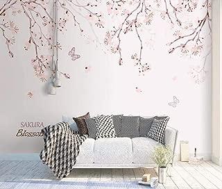 Papel Pintado Pared 3D Papel Pintado Murales Flor De Cerezo Rosa Romántico Pintado A Mano Dormitorio Sala Tv Fondo Decoración Fotomurales 250cmx175cm
