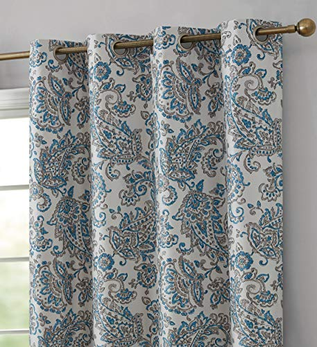 """HLC.ME Amalfi Paisley 100% Blackout Room Darkening Thermal Lined Curtain Grommet Panels for Bedroom - Energy Efficient, Complete Darkness, Noise Reducing - Set of 2 (Blue, 52"""" W x 84"""" L)"""