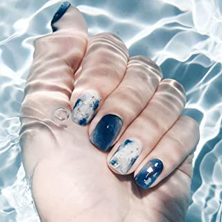 Drecode Blue Glossy Fake Nails Fashion Full Cover Acrylic Glitter False Nails Punk Party Porm Clip on Nail for Women and Girls(24Pcs)