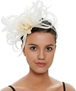 cf19fd35 Fascinators Hat for Women Tea Party Headband Fancy Dress Accessories Wedding  Cocktail Flower Mesh Feathers Hair