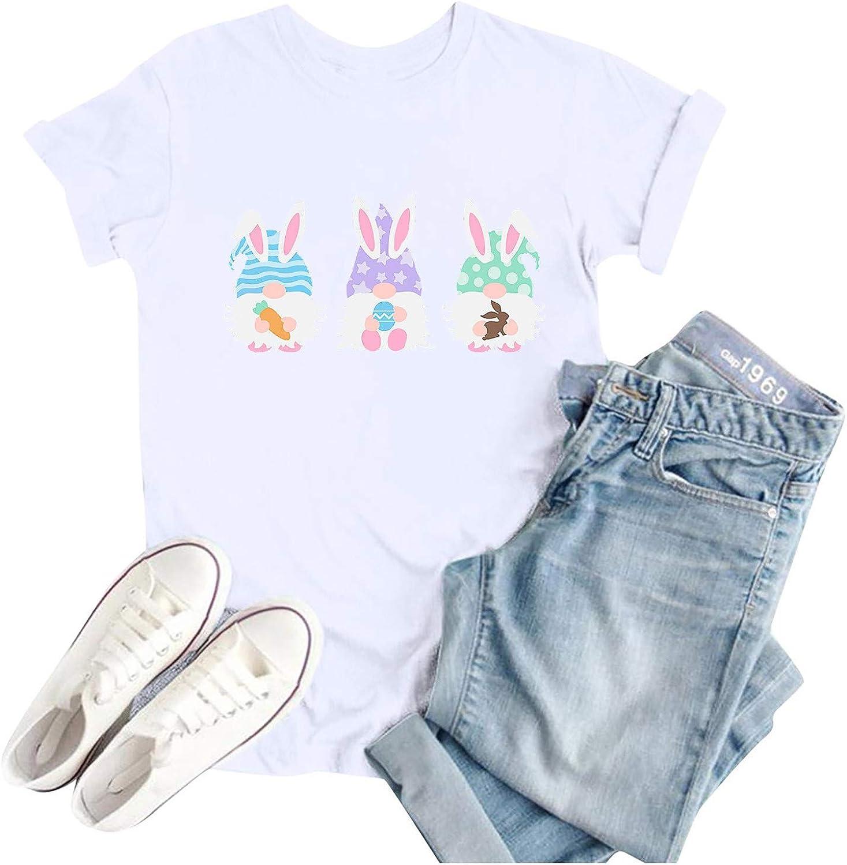 YUehswet Womens Short Sleeve Tops,Womens Graphic Tee Tops Easter Bunny T Shirts Cute Rabbit Print Short Sleeve Casual Shirt