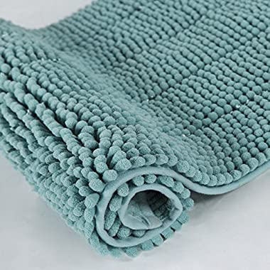 Cloud Mountain Non-Slip Microfiber Bath Rugs Chenille Floor Mat Ultra Soft Washable Bathroom Fast Water Absorbent Bedroom Area Rugs Turquoise