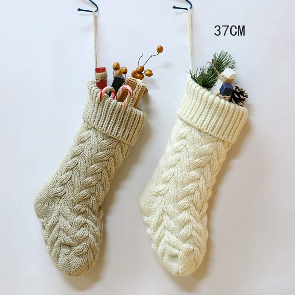 Kiuu Christmas Stockings Knitted Xmas Stocking Decoration Holiday Party Favors Gift