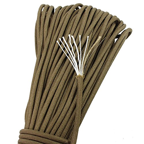 Paracorde 550 Corde avec allume-feu, pour bracelets, longueur 31 m, couleur brun