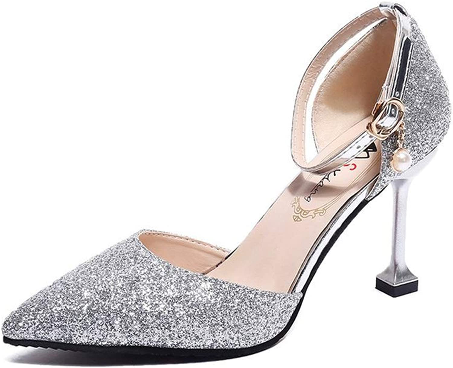 FLourishing Womens Glitter Sequins High Heels Closed Pointy Toe Ankle Strap Buckle Wedding Pumps